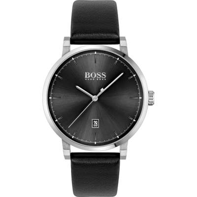 Boss Confidence Leather Strap Watch, 42Mm