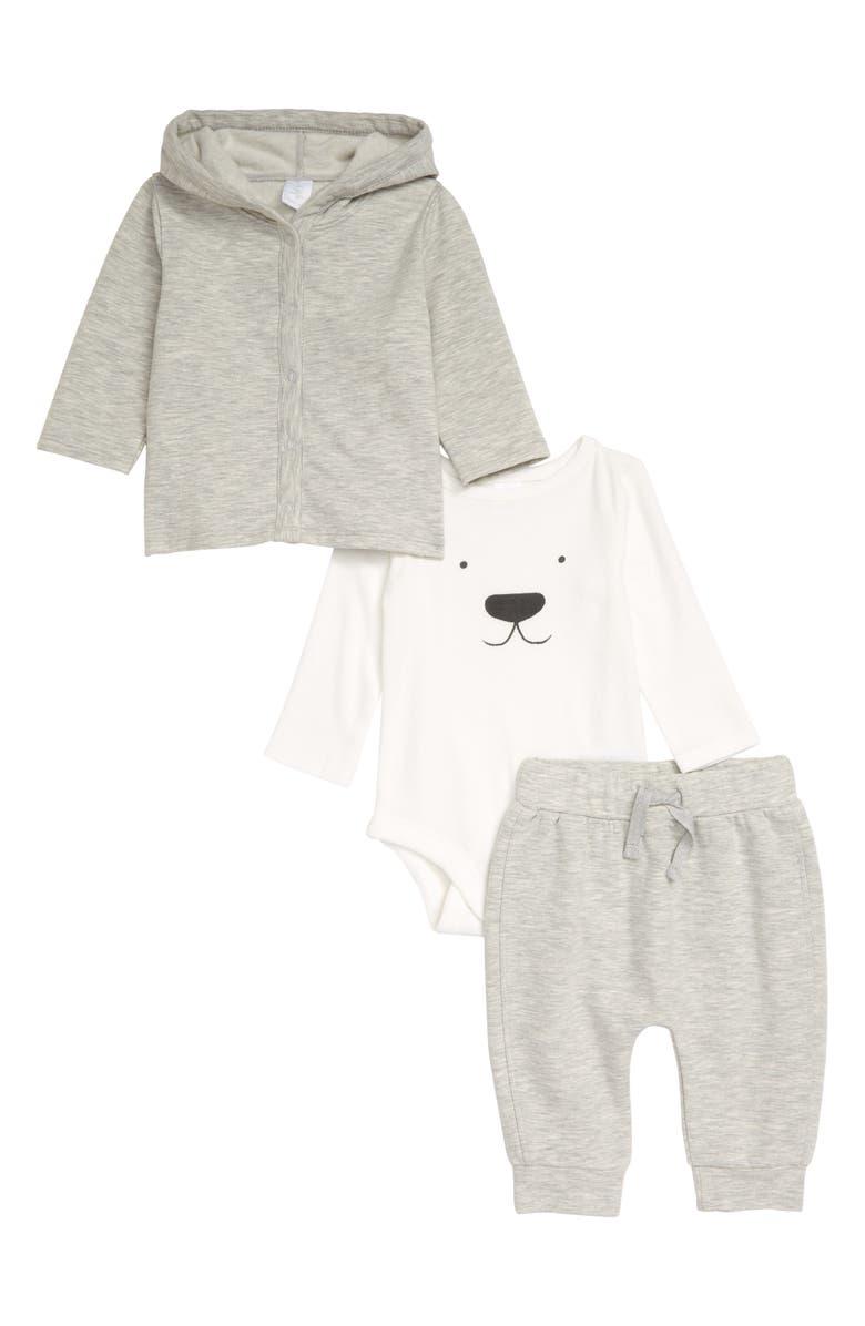 NORDSTROM Snap Hoodie, Long Sleeve Bodysuit and Pants Set, Main, color, 900