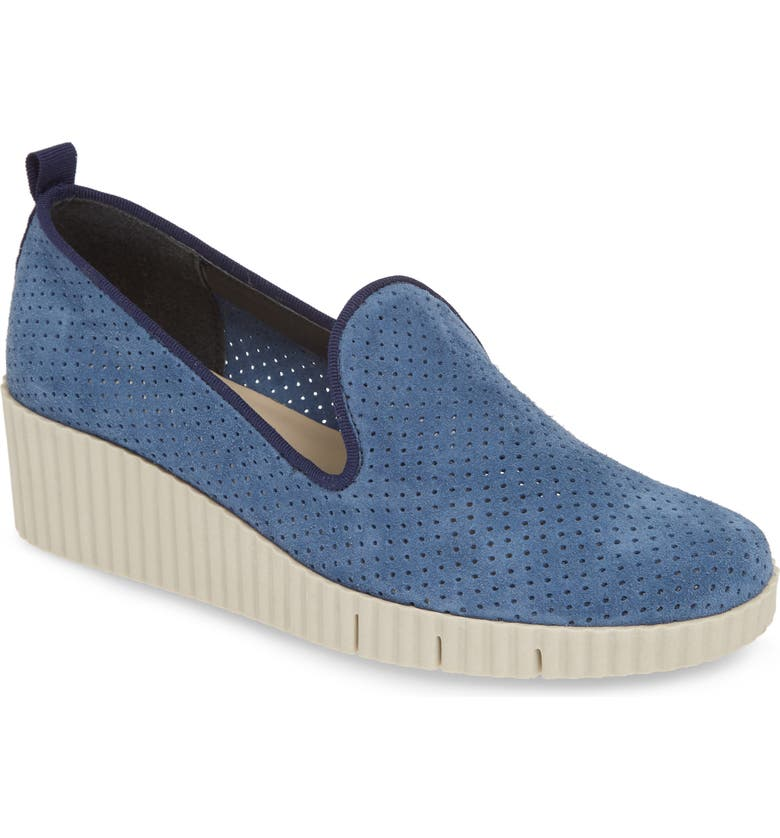 THE FLEXX Fast Times Too Perforated Wedge Loafer, Main, color, MARINE PERFORATED SUEDE