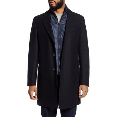Boss Nadim4 Wool Blend Overcoat With Removable Quilted Bib Insert, 6R - Blue