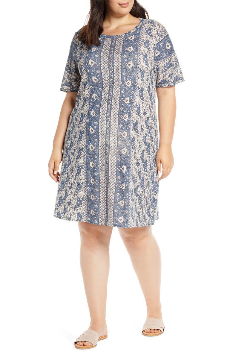 LUCKY BRAND Summer Tee Dress, Main, color, PINK MULTI