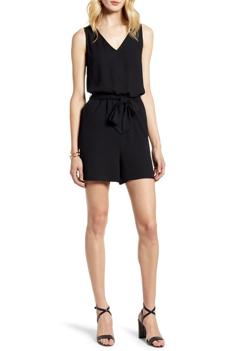 HALOGEN<SUP>®</SUP> Tie Waist V-Neck Romper, Main, color, BLACK
