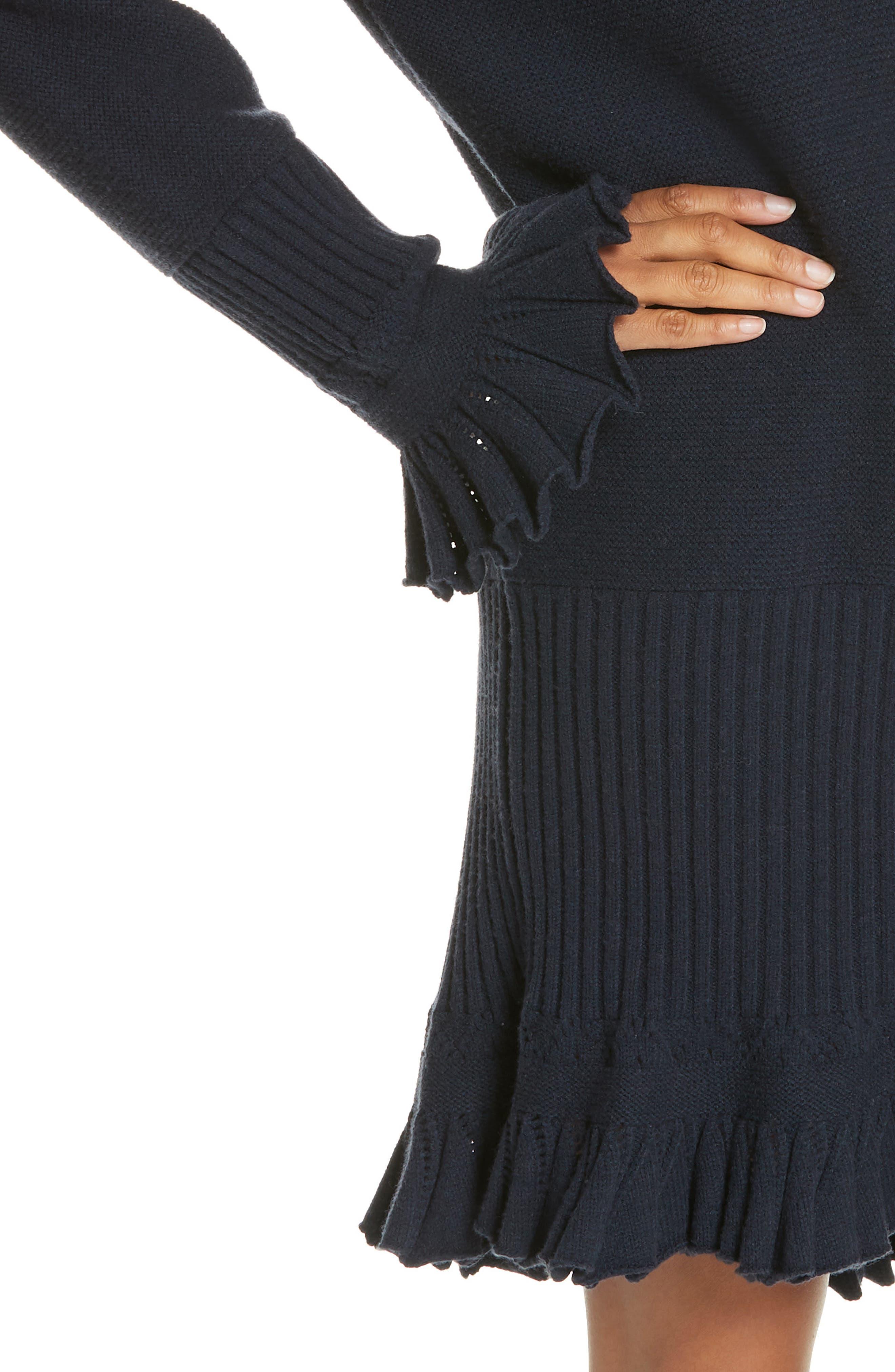 ,                             Ruffle Trim Sweater Dress,                             Alternate thumbnail 4, color,                             NAVY