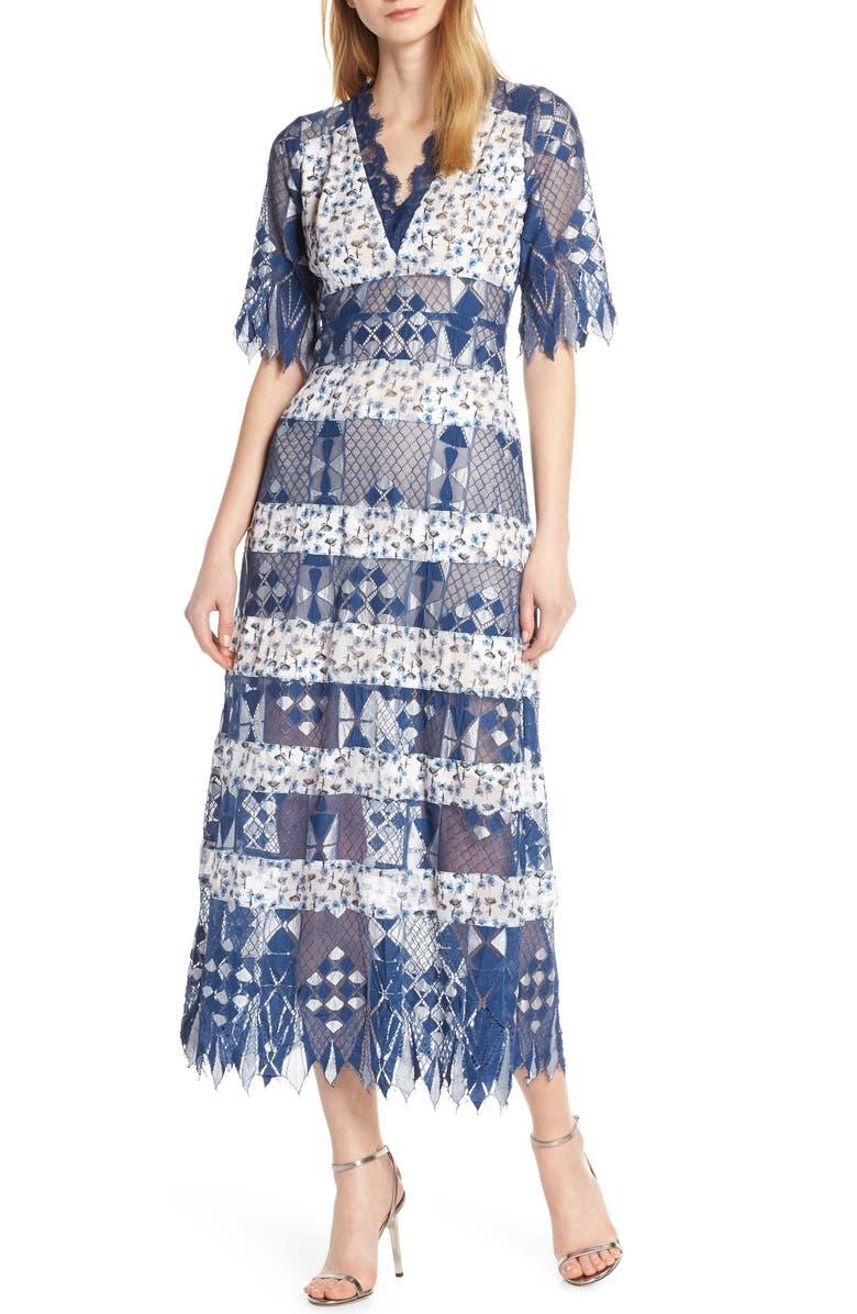FOXIEDOX Muriel Mixed Media Dress, Main, color, BLUE MULTI