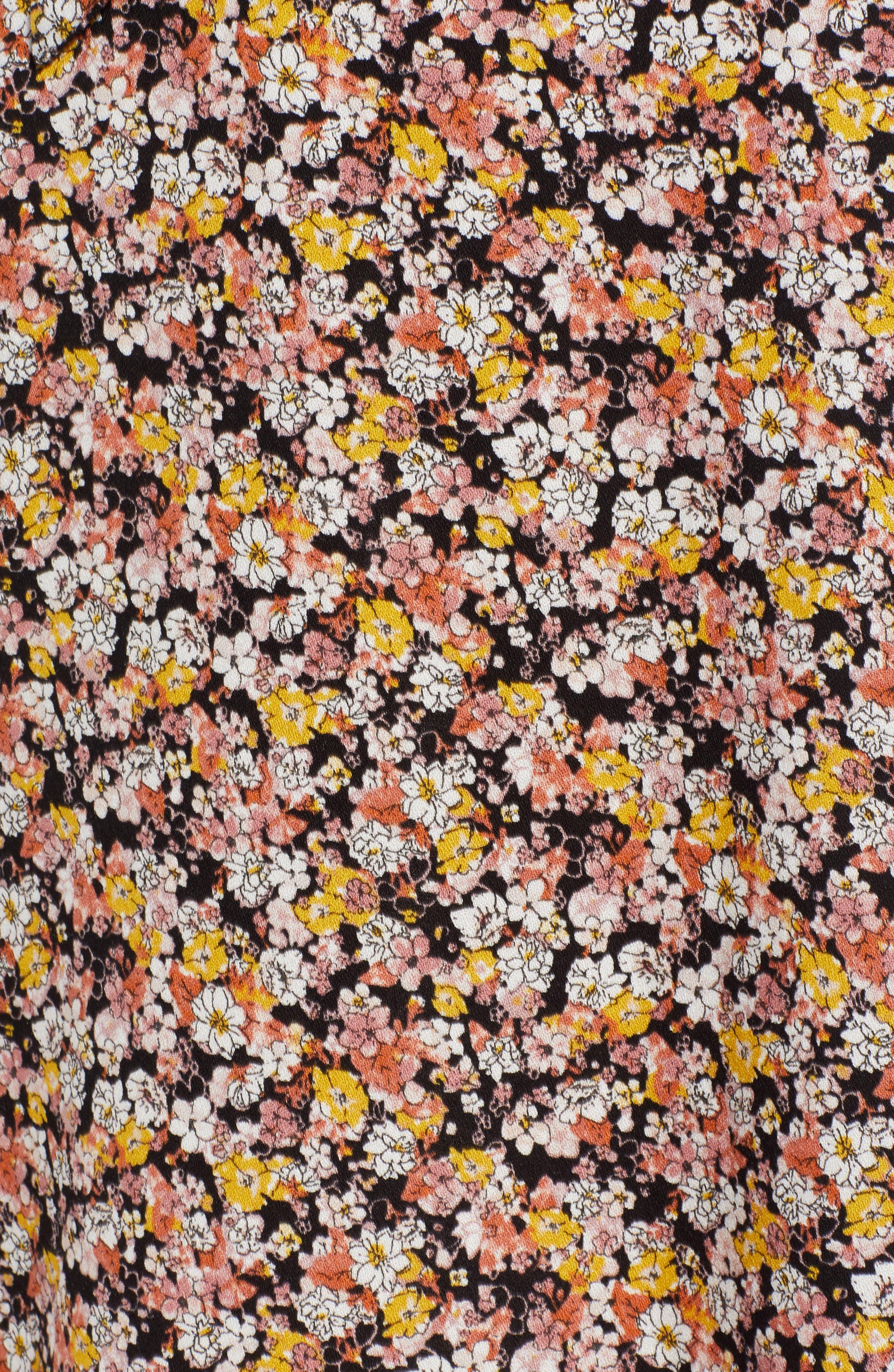 ,                             Tie Waist Floral Print Midi Skirt,                             Alternate thumbnail 5, color,                             BLACK DITSY FLORAL