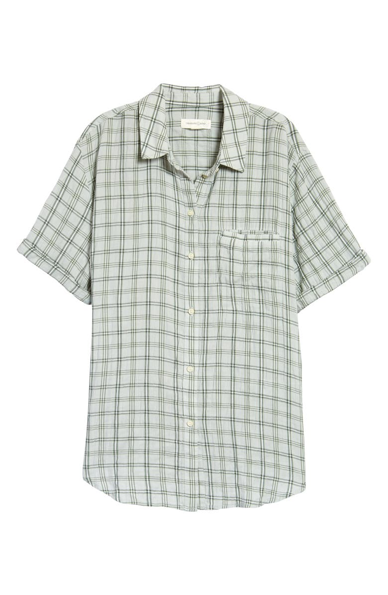 TREASURE & BOND Check Short Sleeve Shirt, Main, color, GREEN STELLA PLAID