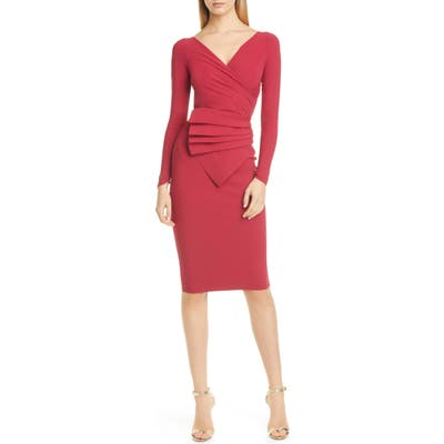 Chiara Boni La Petite Robe Kaya Long Sleeve Ruffle Cocktail Dress, US / 40 IT - Red