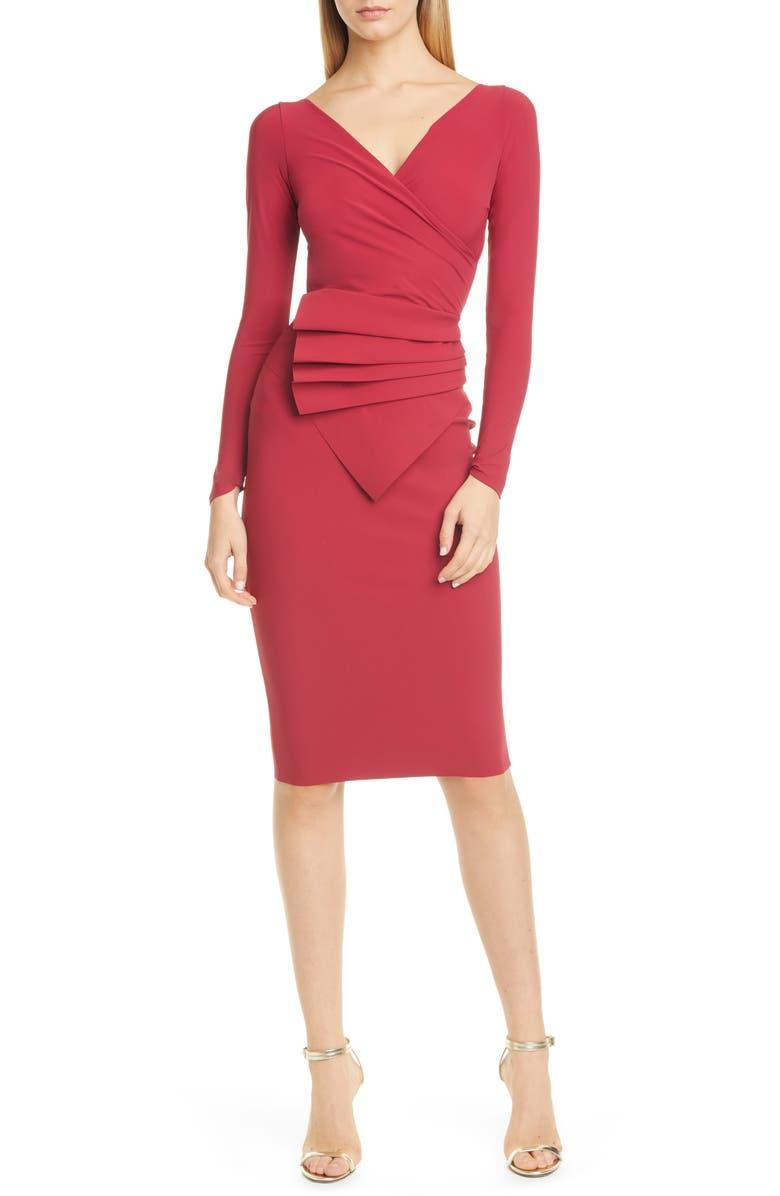 CHIARA BONI LA PETITE ROBE Kaya Long Sleeve Ruffle Cocktail Dress, Main, color, GARNET