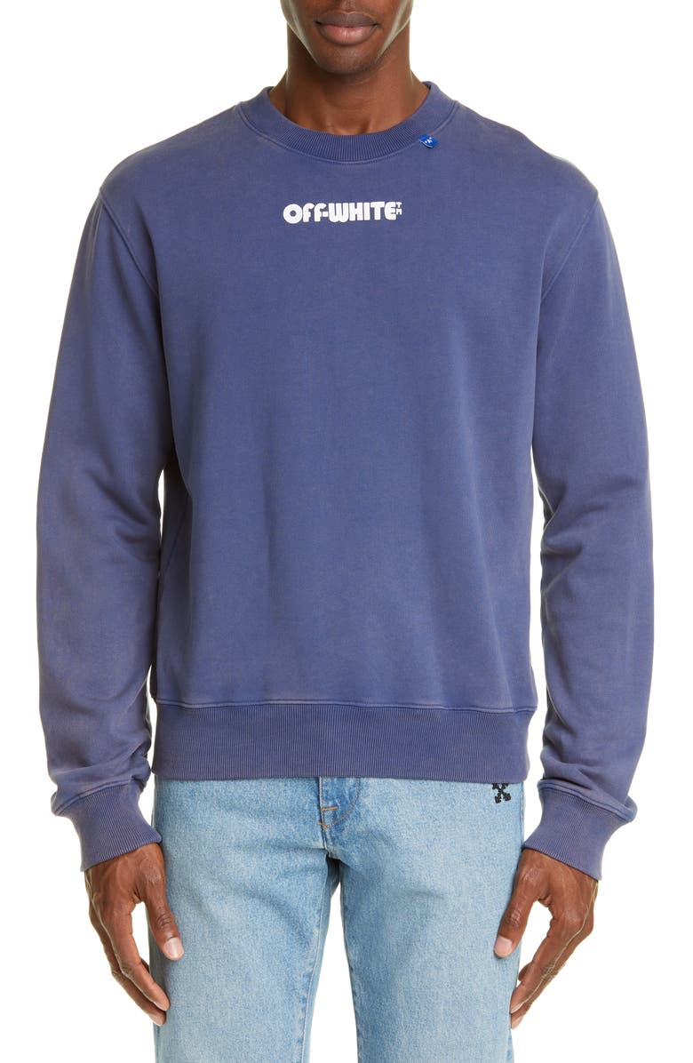 OFF-WHITE Skulls Slim Fit Crewneck Sweatshirt, Main, color, BLUE WHITE