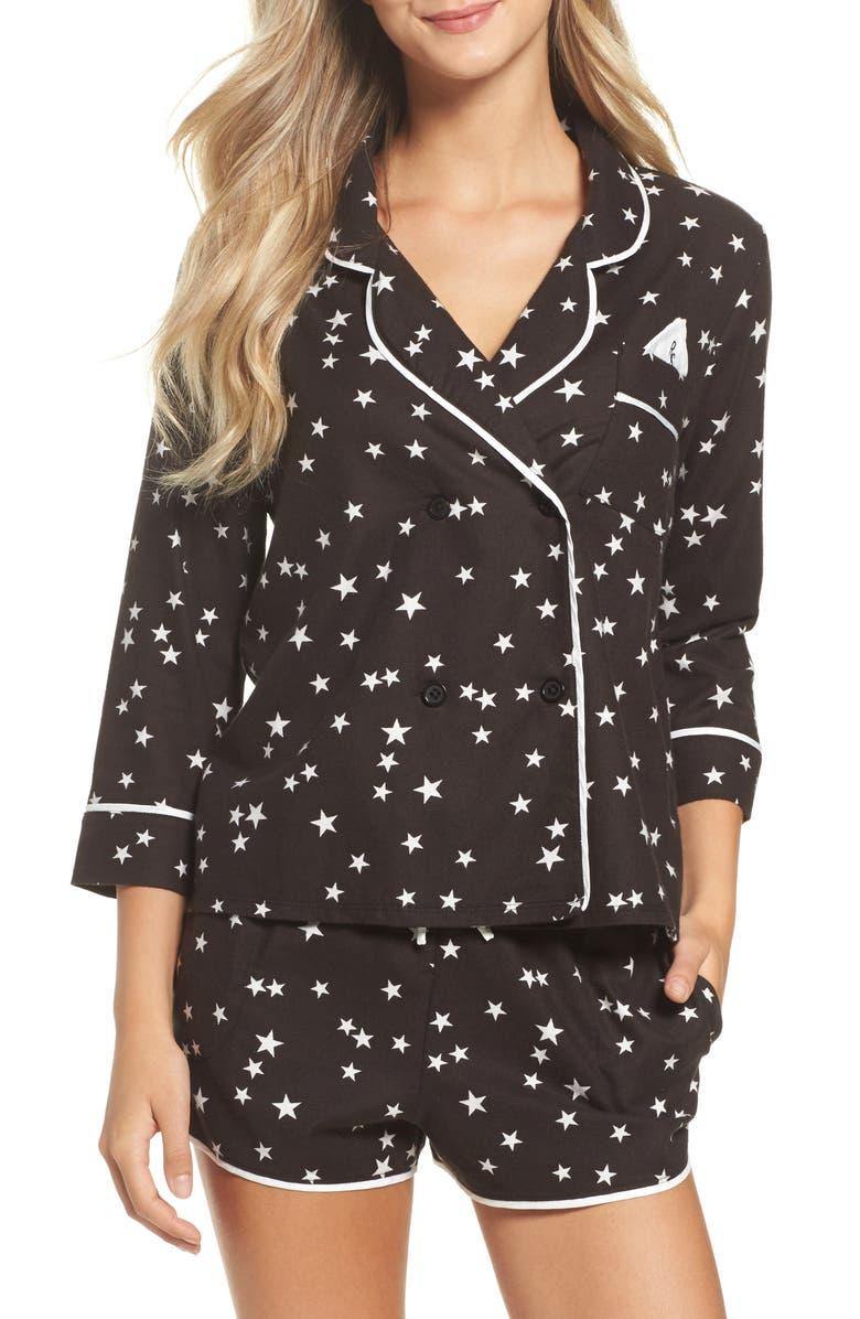 ROOM SERVICE Shorty Flannel Pajamas, Main, color, 019