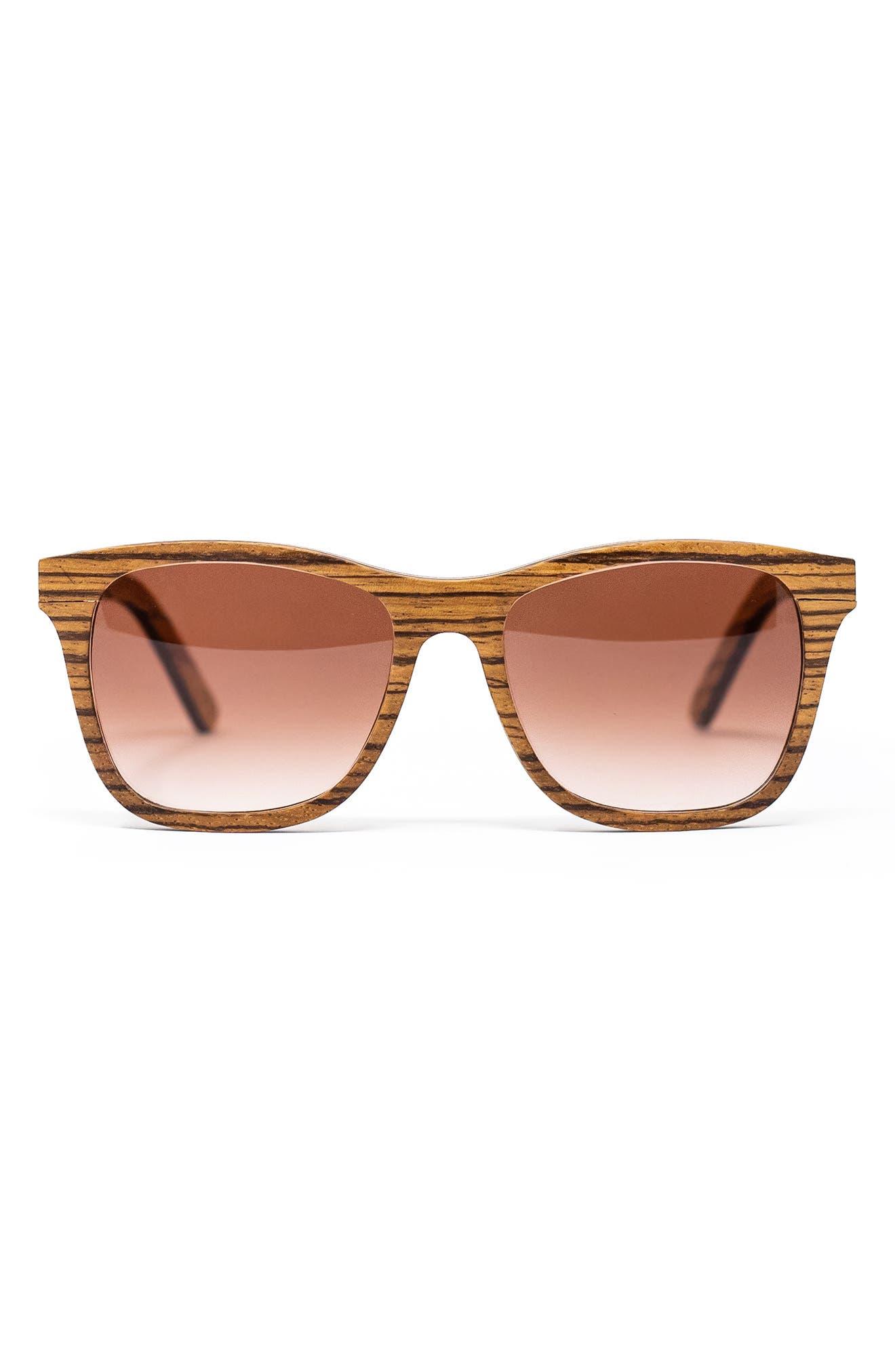 Barklae 51mm Gradient Square Zebrawood Blue Light Blocking Sunglasses