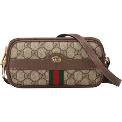 Gucci Mini Ophidia Gg Supreme Canvas Crossbody Bag - Beige