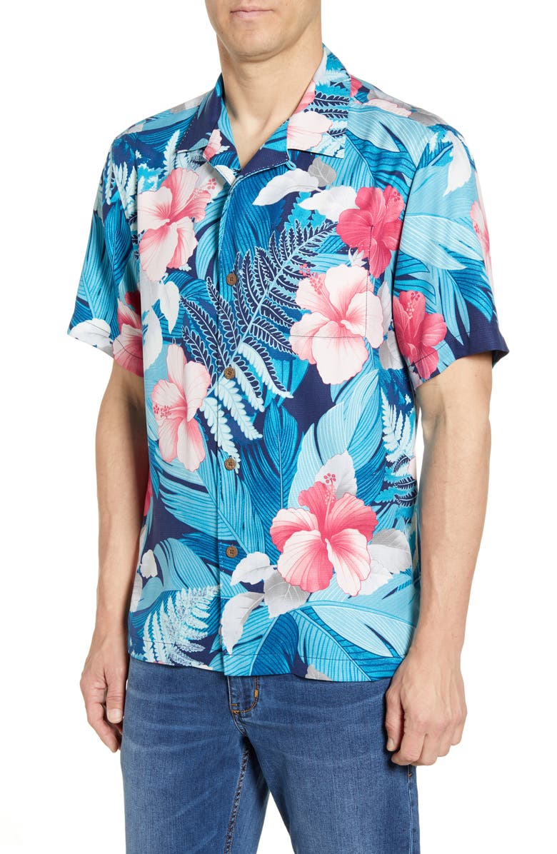 TOMMY BAHAMA Hibiscus Hues Silk Shirt, Main, color, ISLAND NAVY