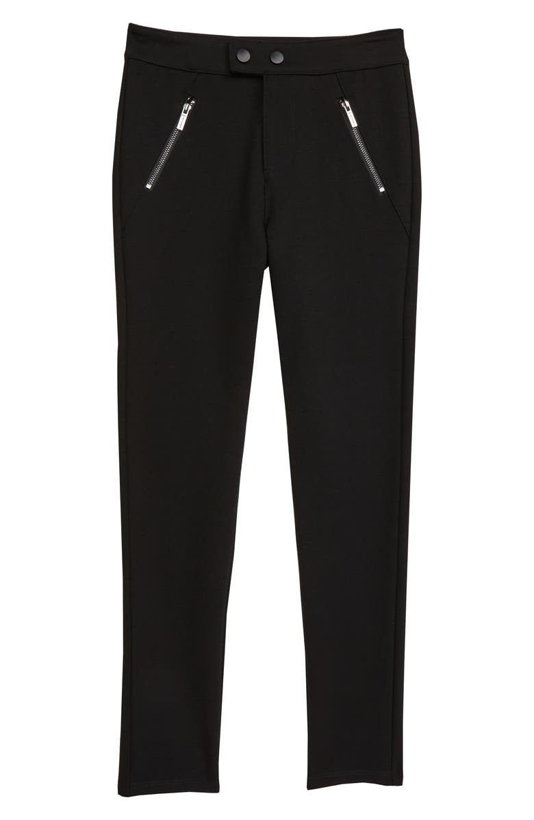 HABITUAL Carson Zip Ponte Pants, Main, color, BLACK