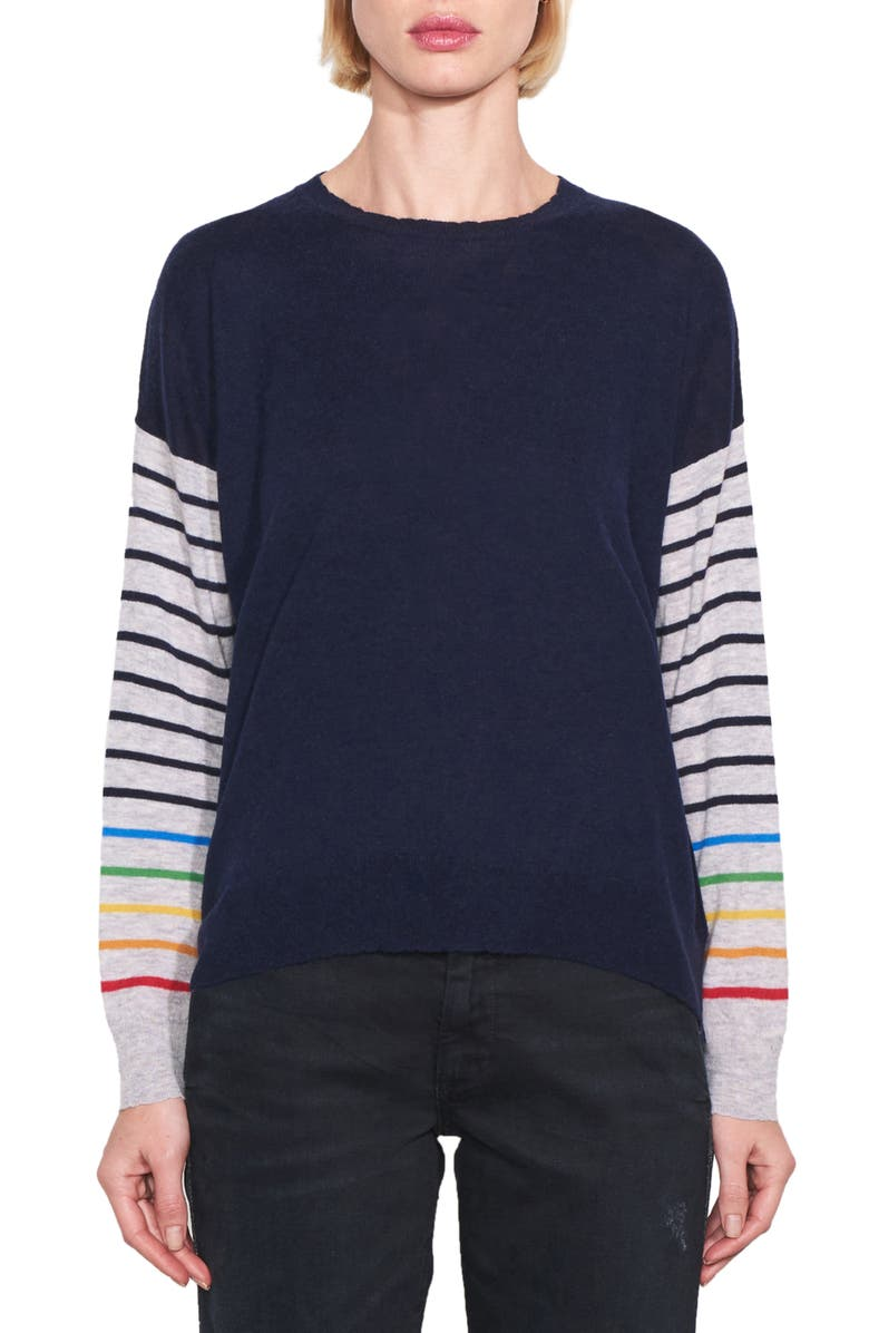 SUNDRY Rainbow Stripe Sleeves Wool & Cashmere Sweater, Main, color, NAVY