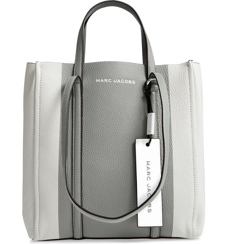 MARC JACOBS The Tag 27 Leather Tote, Main, color, FOG GREY MULTI