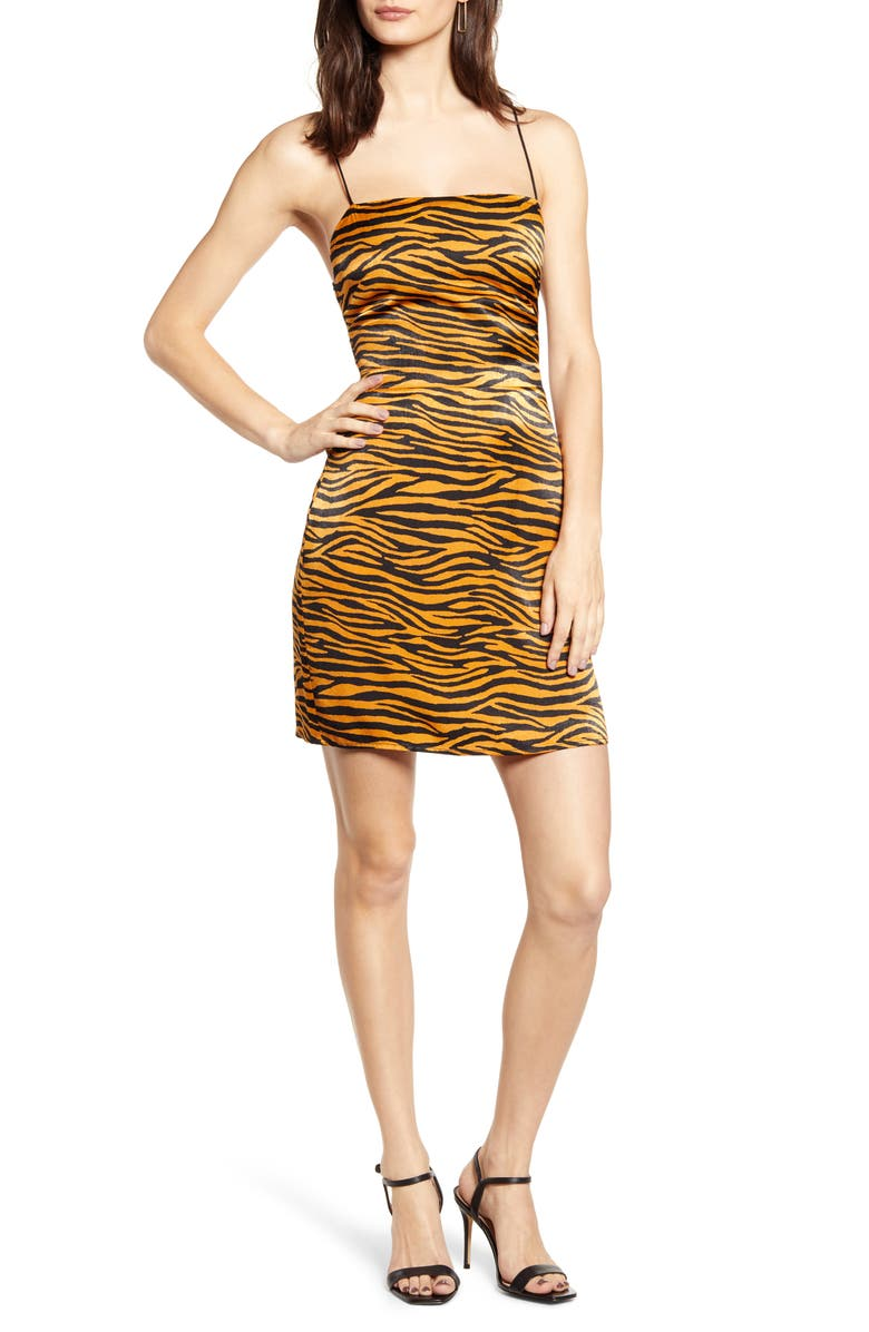 J.O.A. Animal Print Minidress, Main, color, GINGER TIGER