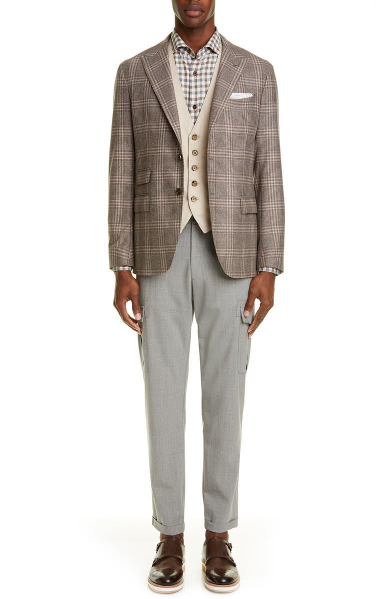 ELEVENTY Slim Fit Check Button-Up Shirt, Main, color, SAND