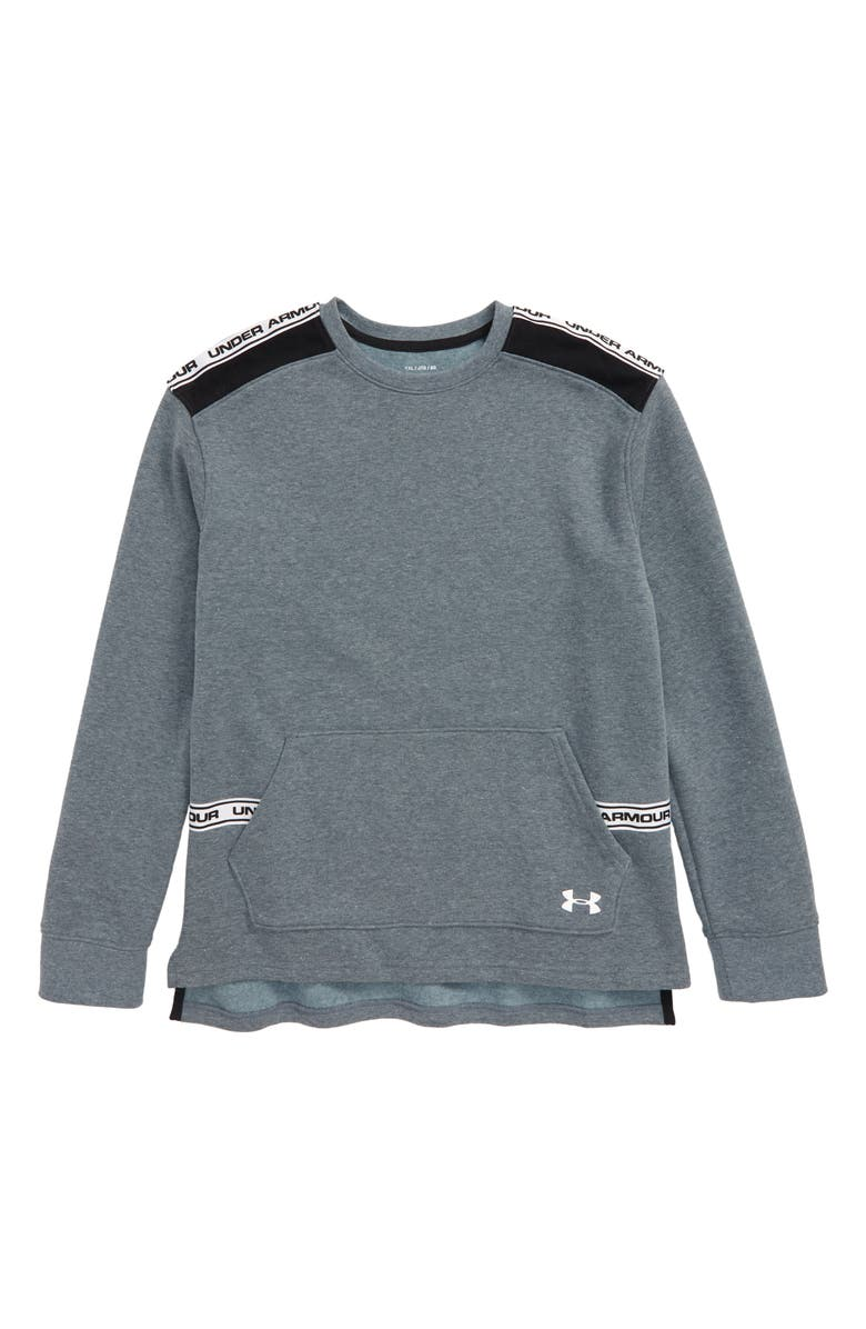 UNDER ARMOUR Sportstyle ColdGear<sup>®</sup> Fleece Sweatshirt, Main, color, WIRE LIGHT HEATHER/ WHITE