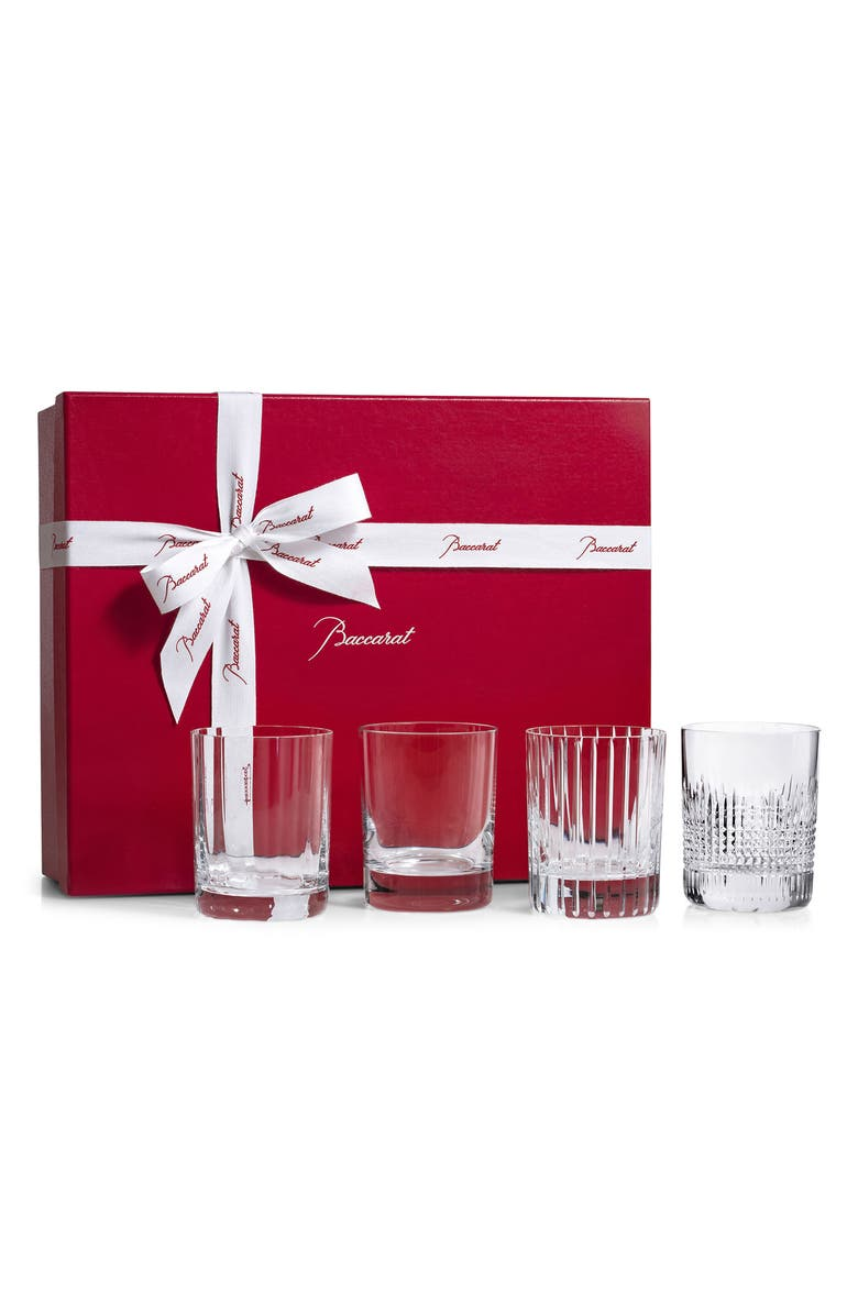 BACCARAT Four Elements Set of 4 Lead Crystal Tumblers, Main, color, CLEAR