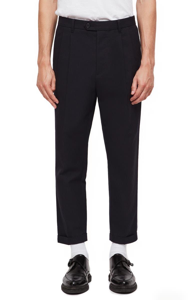 ALLSAINTS Tallis Pleated Cotton & Wool Trousers, Main, color, BLACK