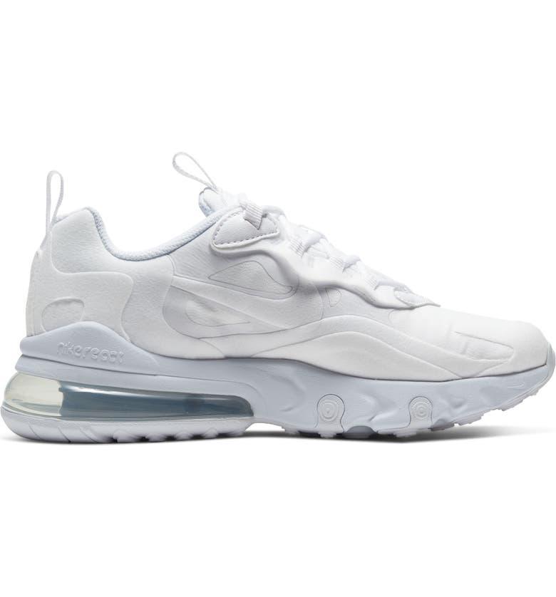 NIKE Air Max 270 React Sneaker, Alternate, color, WHITE/ WHITE/ SILVER/ WHITE