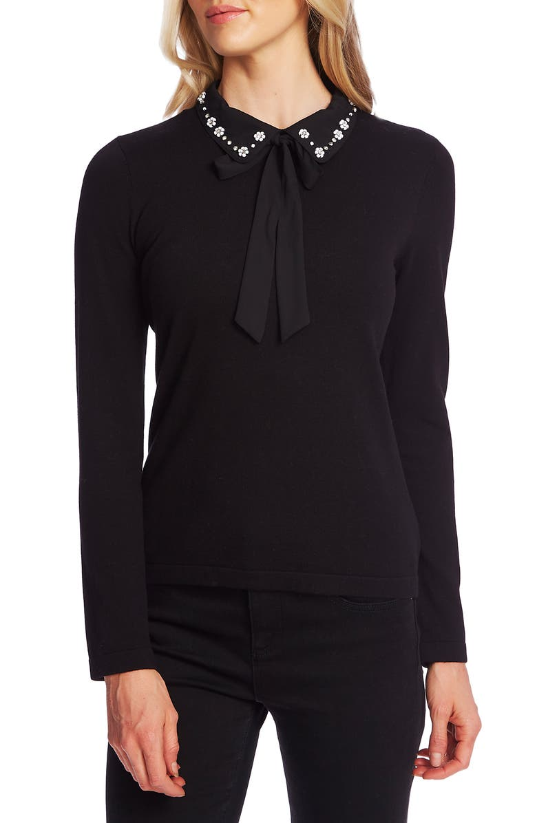 CECE Embellished Collar Tie Neck Sweater, Main, color, RICH BLACK