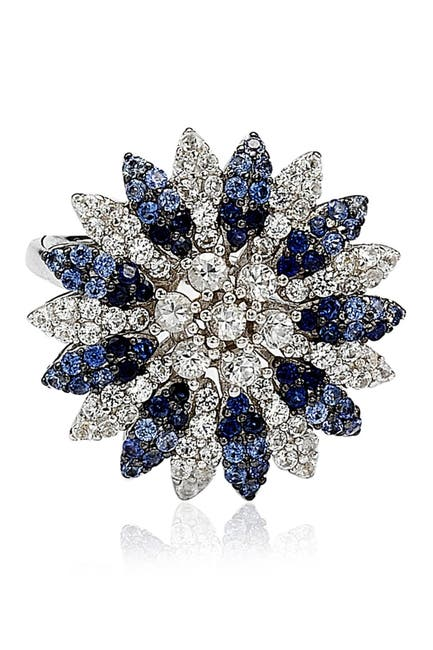 Image of Suzy Levian Sterling Silver Blue Sapphire, Created White Sapphire & Brown Diamond Flower Ring