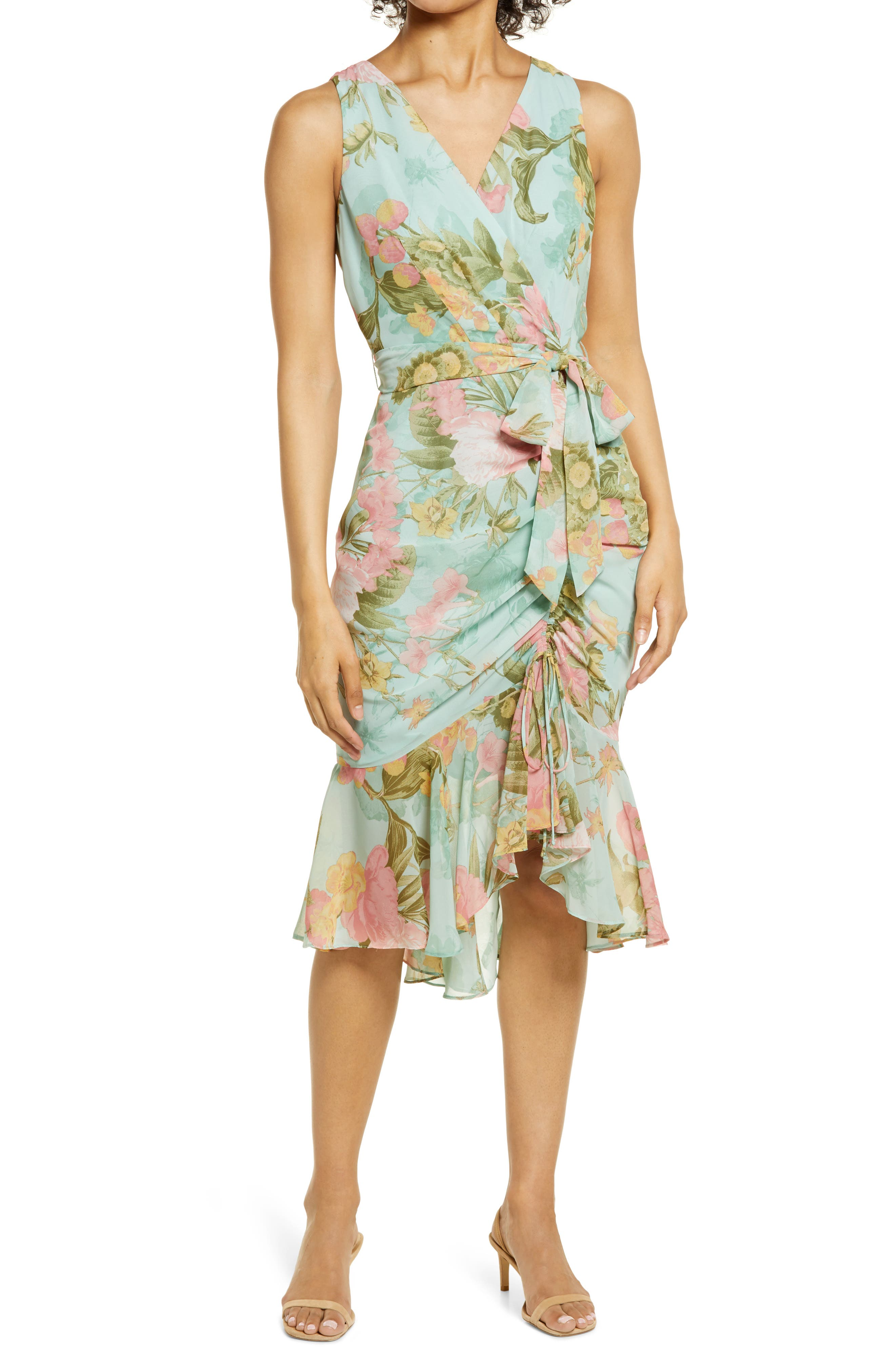 Floral Wrap Front Sleeveless Dress