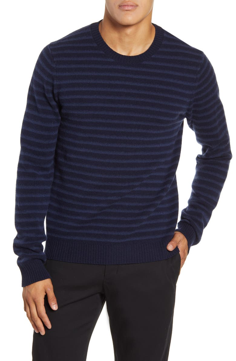 VINCE Crewneck Shadow Stripe Merino Wool Sweater, Main, color, COASTAL
