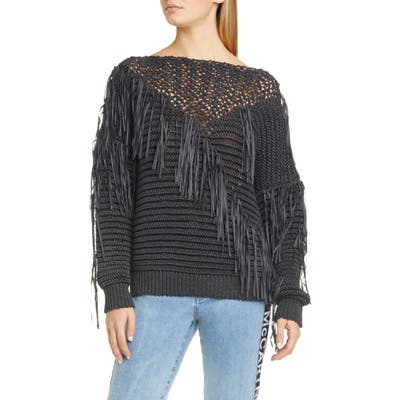 Stella Mccartney Fringe Tape Yarn Sweater, 6 IT - Black