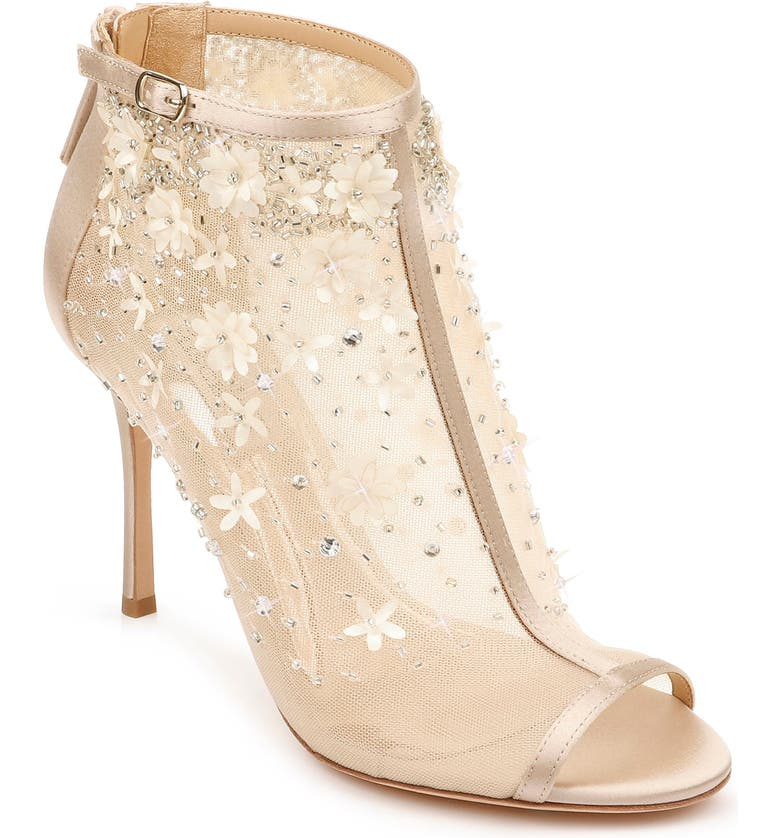 BADGLEY MISCHKA COLLECTION Badgley Mischka Olivia Embellished Open Toe Bootie, Main, color, NUDE SATIN