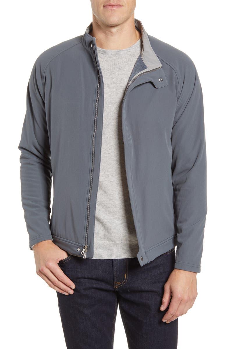 PETER MILLAR Crown Flex Fleece Bomber Jacket, Main, color, IRON