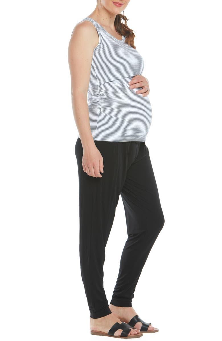ANGEL MATERNITY Maternity/Nursing Tank, Bra & Pants, Main, color, BLACK