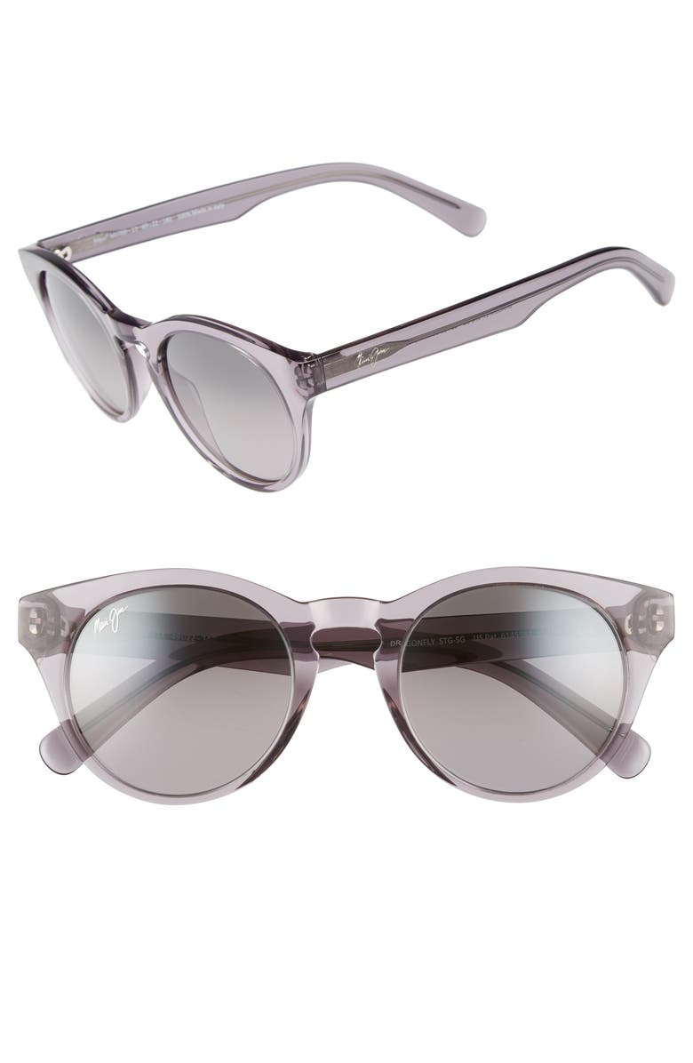MAUI JIM Dragonfly 49mm PolarizedPlus2<sup>®</sup> Cat Eye Sunglasses, Main, color, TRANSLUCENT GREY/ NEUTRAL GREY