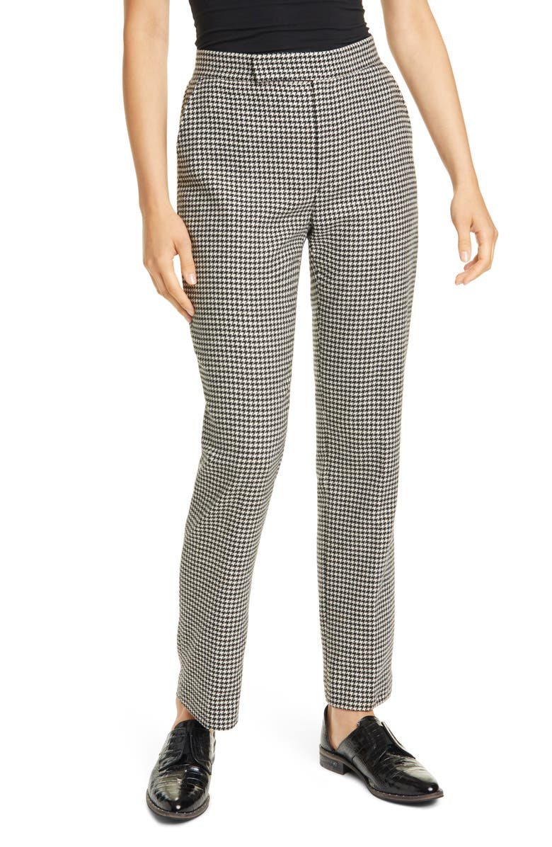 POLO RALPH LAUREN Houndstooth Check Wool Blend Trousers, Main, color, BLACK/ WHITE HOUNDSTOOTH