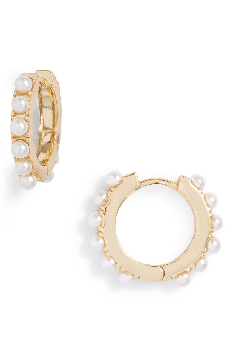 ADINA'S JEWELS Adina's Jewels Mother-of-Pearl Huggie Earrings, Main, color, 110