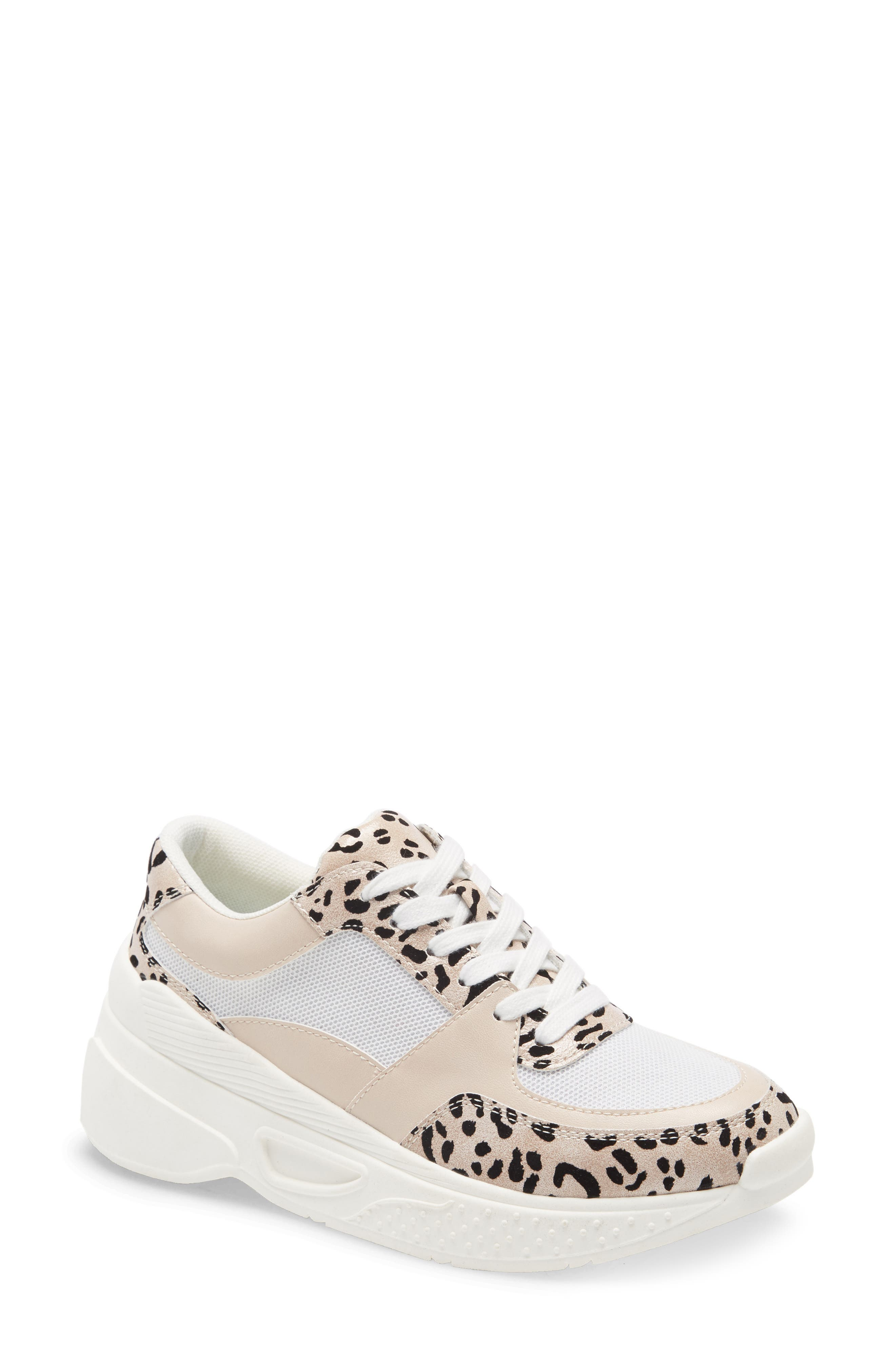 A sporty platform wedge adds to the street-chic style of a striking sneaker fashioned with animal-print panels and breezy mesh insets. Style Name: Coconuts By Matisse Sneaky Platform Wedge Sneaker (Women). Style Number: 5951684. Available in stores.