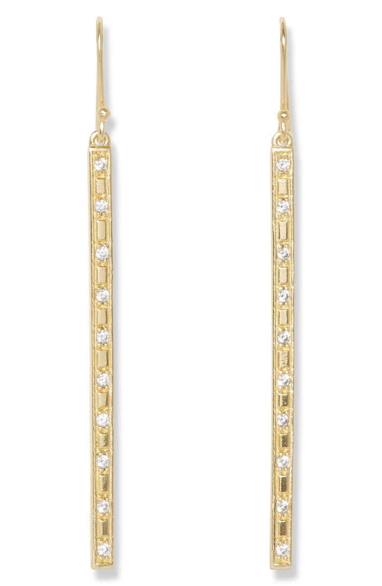 SOLE SOCIETY Linear Drop Earrings, Main, color, 12K SOFT POLISHED GOLD/ CRYS