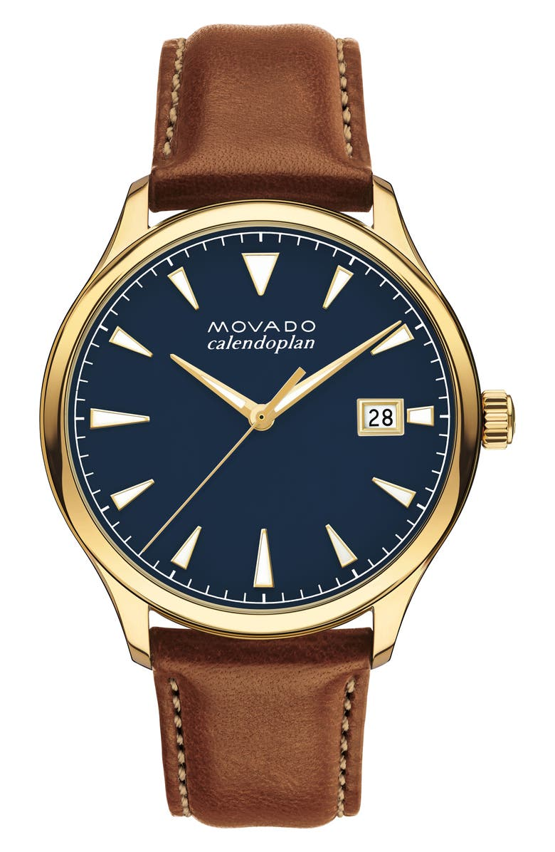 MOVADO Heritage Calendoplan Leather Strap Watch, 42mm, Main, color, COGNAC/ BLUE/ GOLD