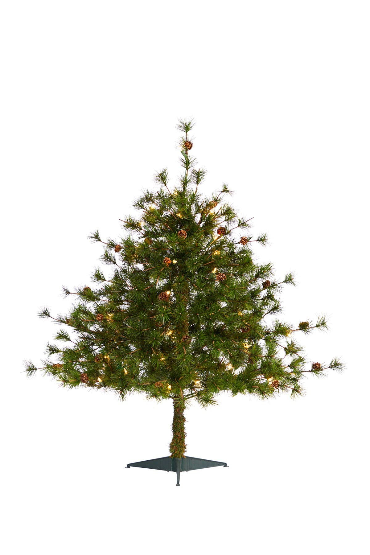 Image of NEARLY NATURAL 3ft. Colorado Mountain Pine Artificial Christmas Tree with 50 Clear Lights & Pine Cones