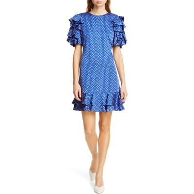 Kate Spade New York Geo Dot Satin Shift Dress, Blue
