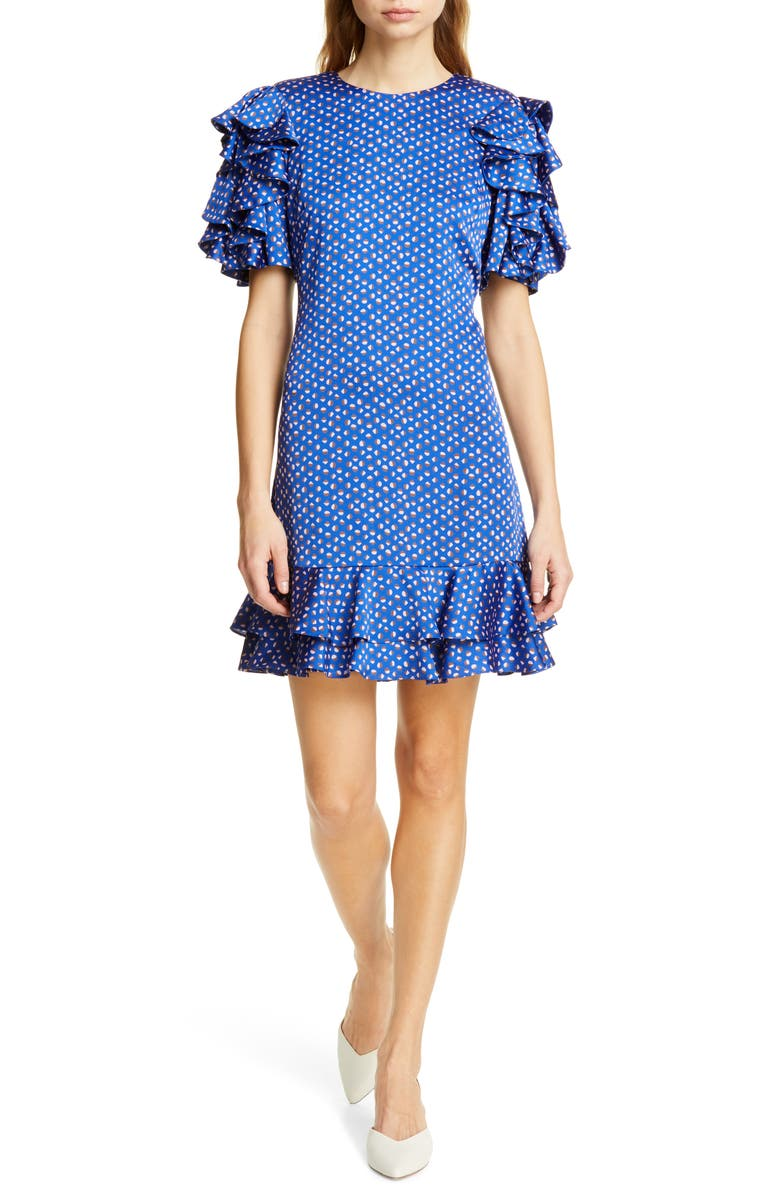 KATE SPADE NEW YORK geo dot satin shift dress, Main, color, AMULET BLUE