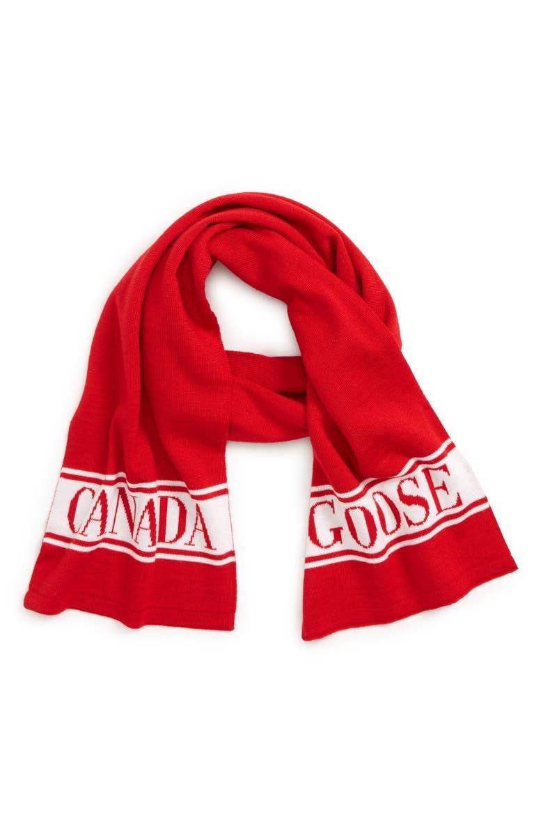 CANADA GOOSE Merino Wool Logo Scarf, Main, color, RED