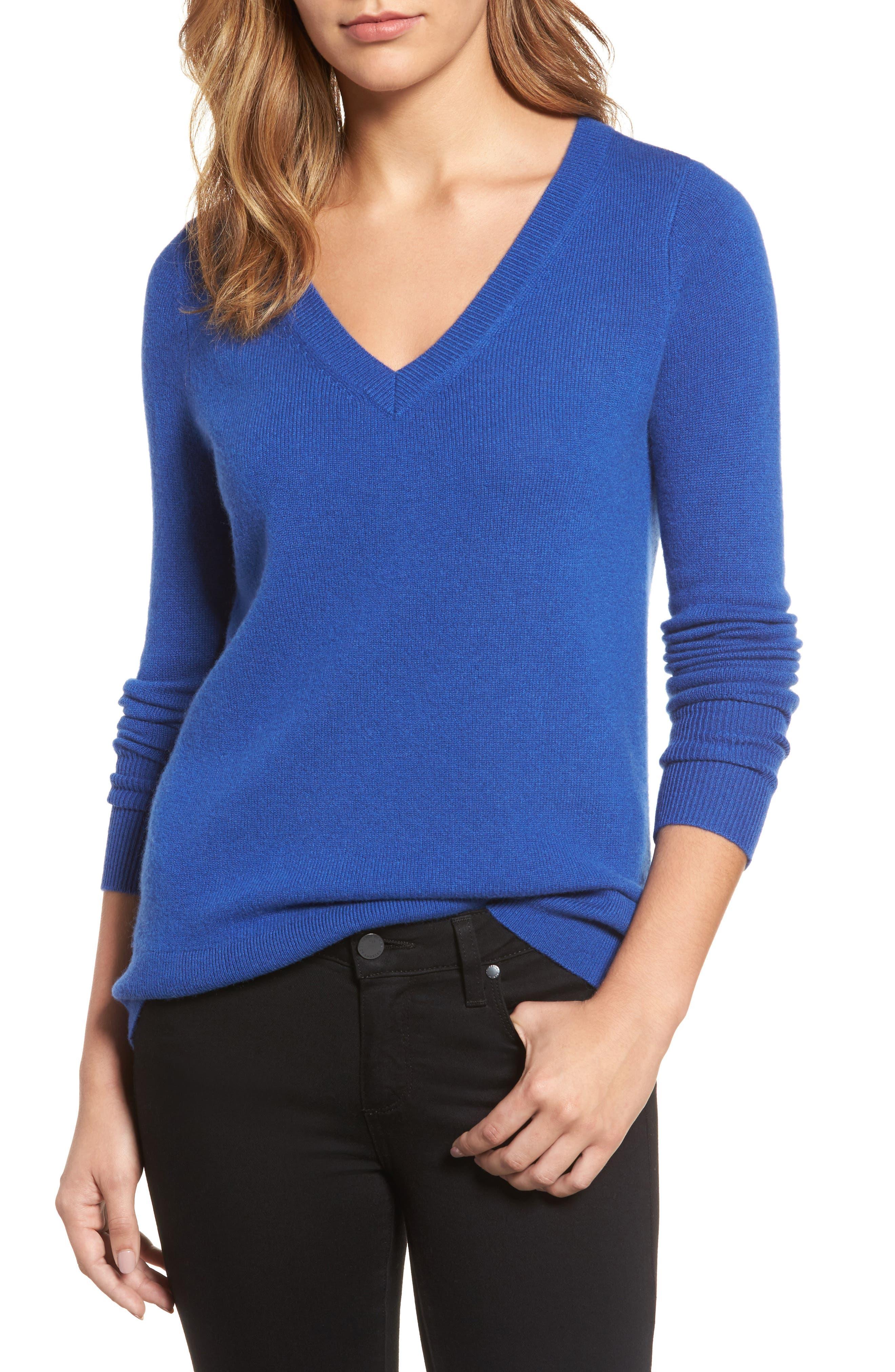 ,                             V-Neck Cashmere Sweater,                             Main thumbnail 87, color,                             401