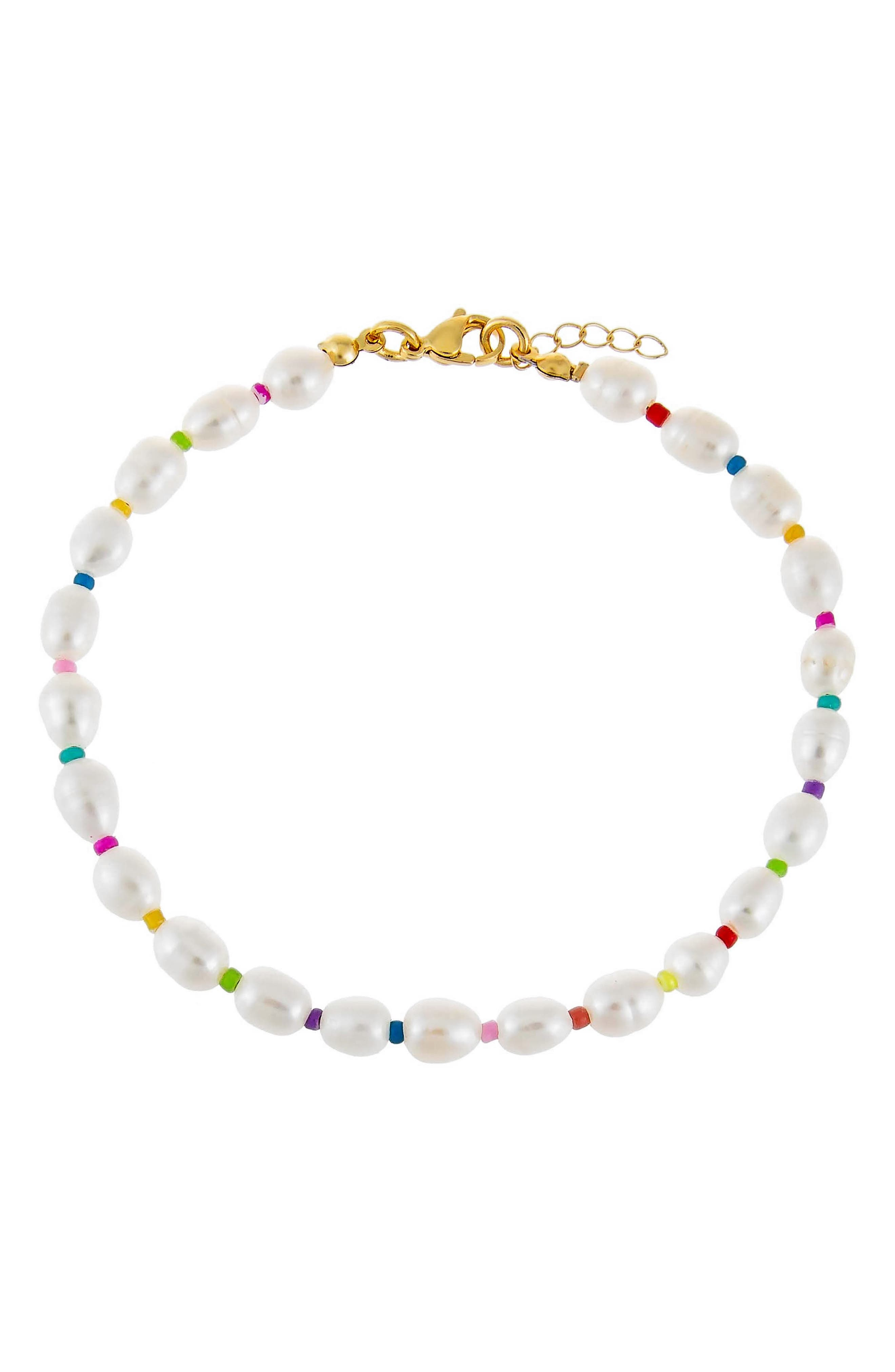 Women's Adina's Jewels Multicolor Freshwater Pearl Anklet