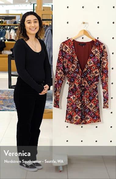 Multi Sequin Long Sleeve Wrap Minidress, sales video thumbnail