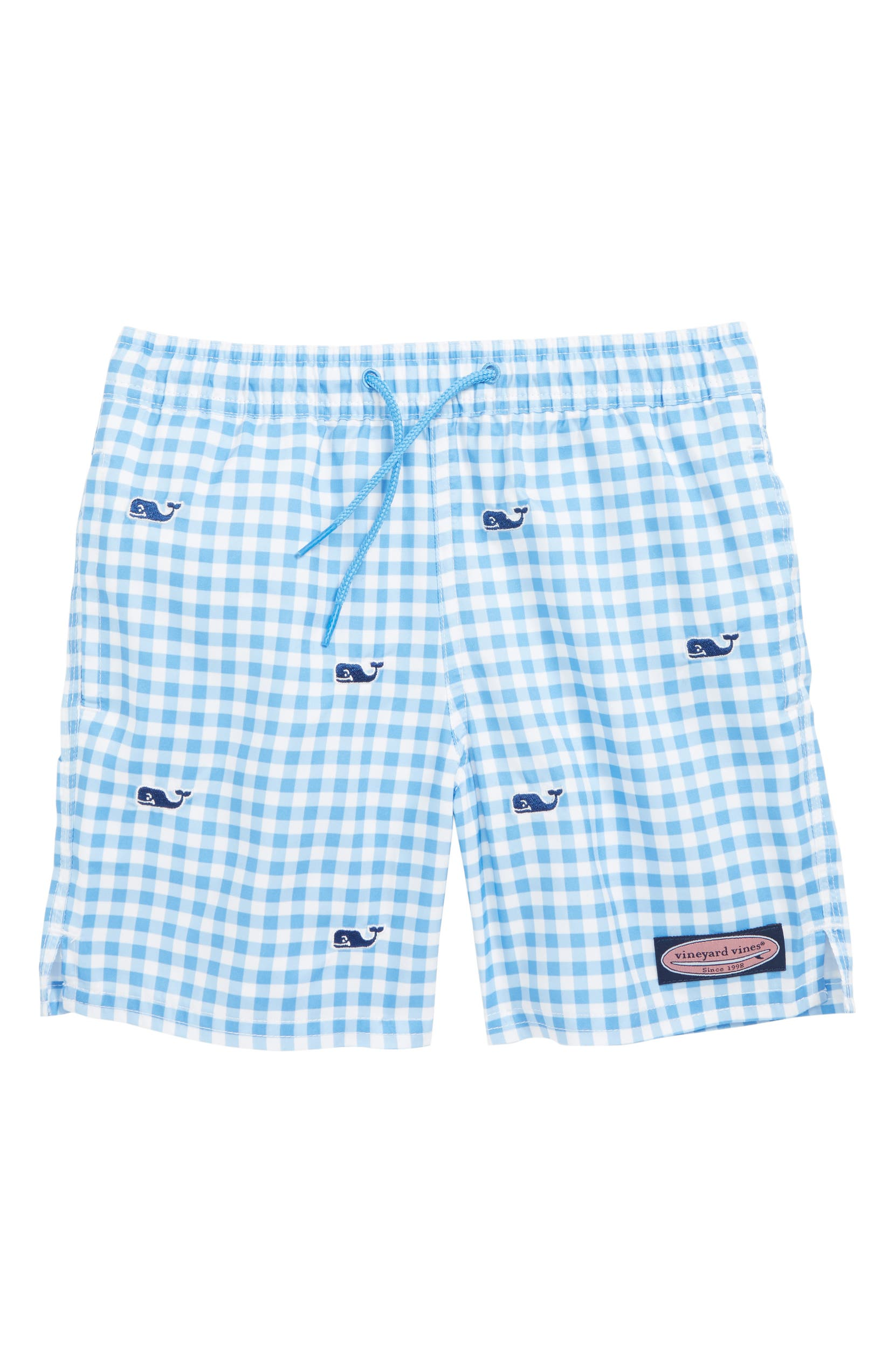 e7a63ce3ee068 vineyard vines Gingham Whale Embroidered Chappy Swim Trunks (Toddler Boys & Little  Boys) | Nordstrom
