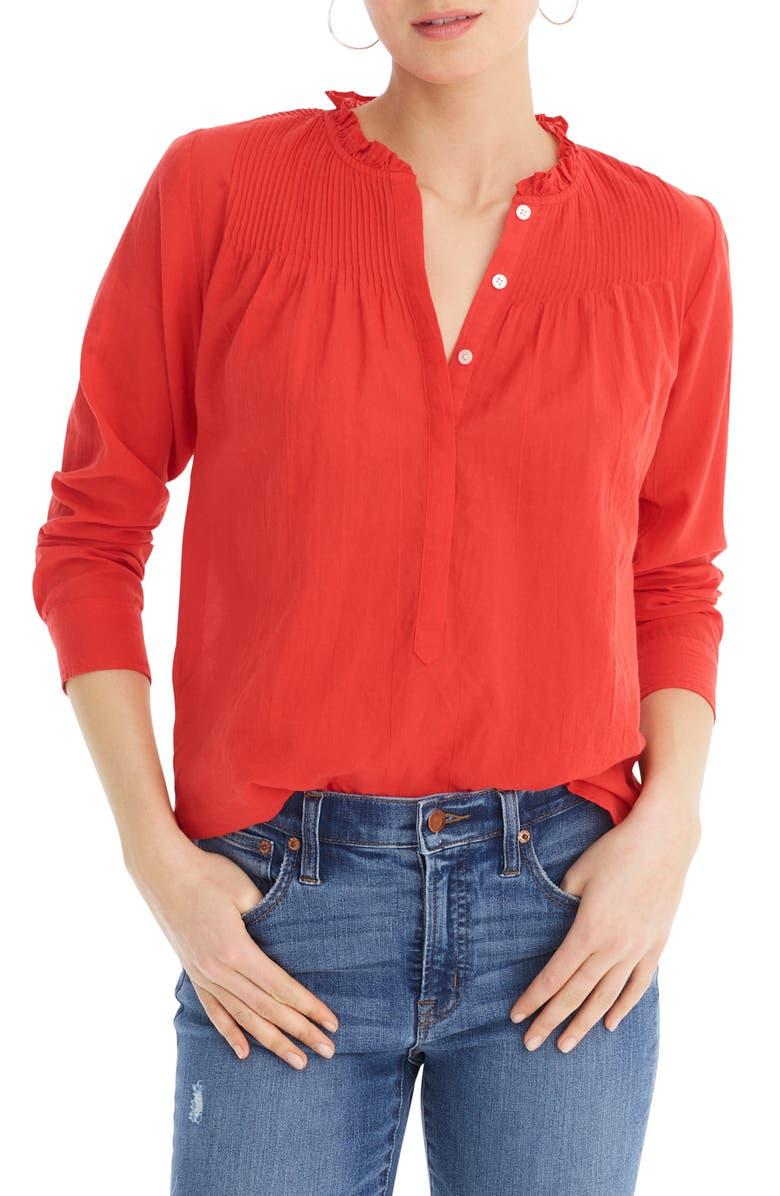 J.CREW Classic Solid Popover Shirt, Main, color, BRIGHT CERISE