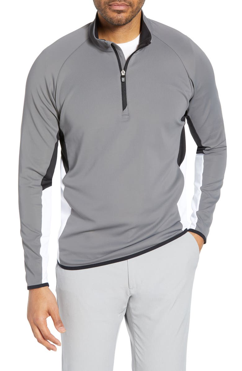 CUTTER & BUCK Traverse Colorblock Quarter Zip Pullover, Main, color, ELEMENTAL GREY